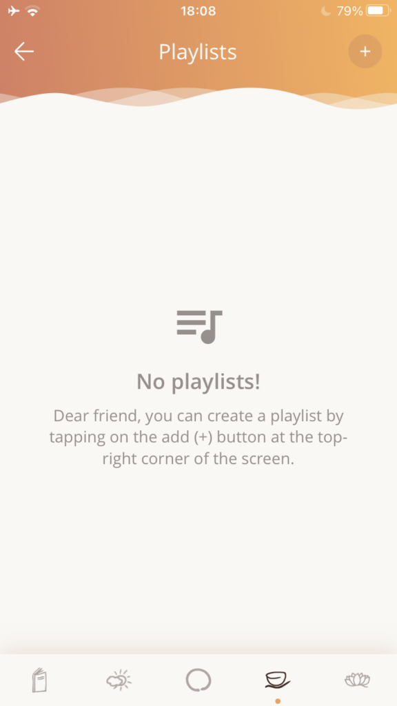 The playlists screen presents a list of playlists you have created. Initially it will be empty.